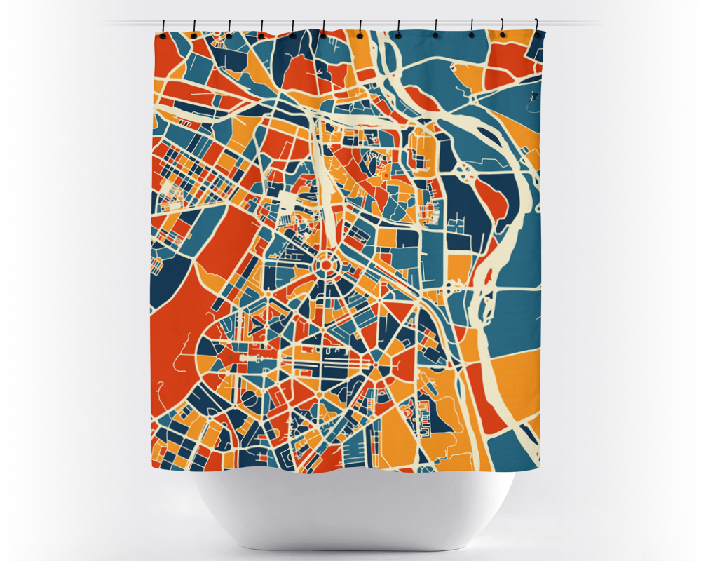 New Delhi Map Shower Curtain - india Shower Curtain - Chroma Series