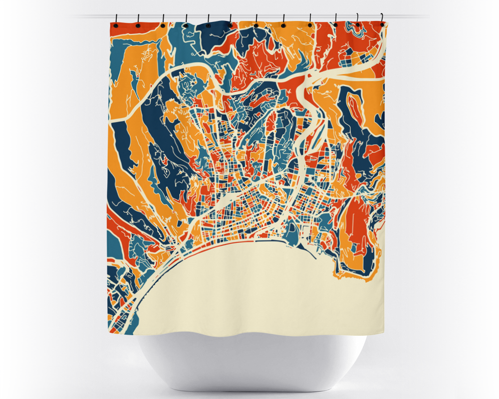 Nice Map Shower Curtain - france Shower Curtain - Chroma Series
