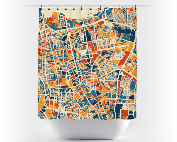 Jakarta Map Shower Curtain - indonesia Shower Curtain - Chroma Series