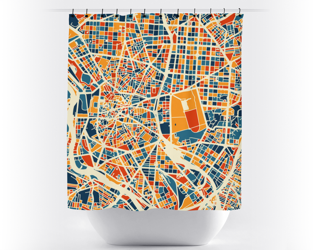 Madrid Map Shower Curtain - spain Shower Curtain - Chroma Series