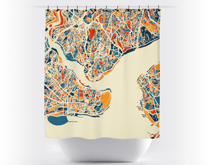 Istanbul Map Shower Curtain - turkey Shower Curtain - Chroma Series