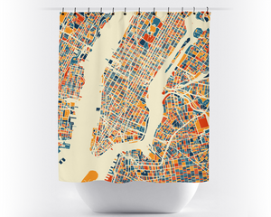 New York City Map Shower Curtain - usa Shower Curtain - Chroma Series