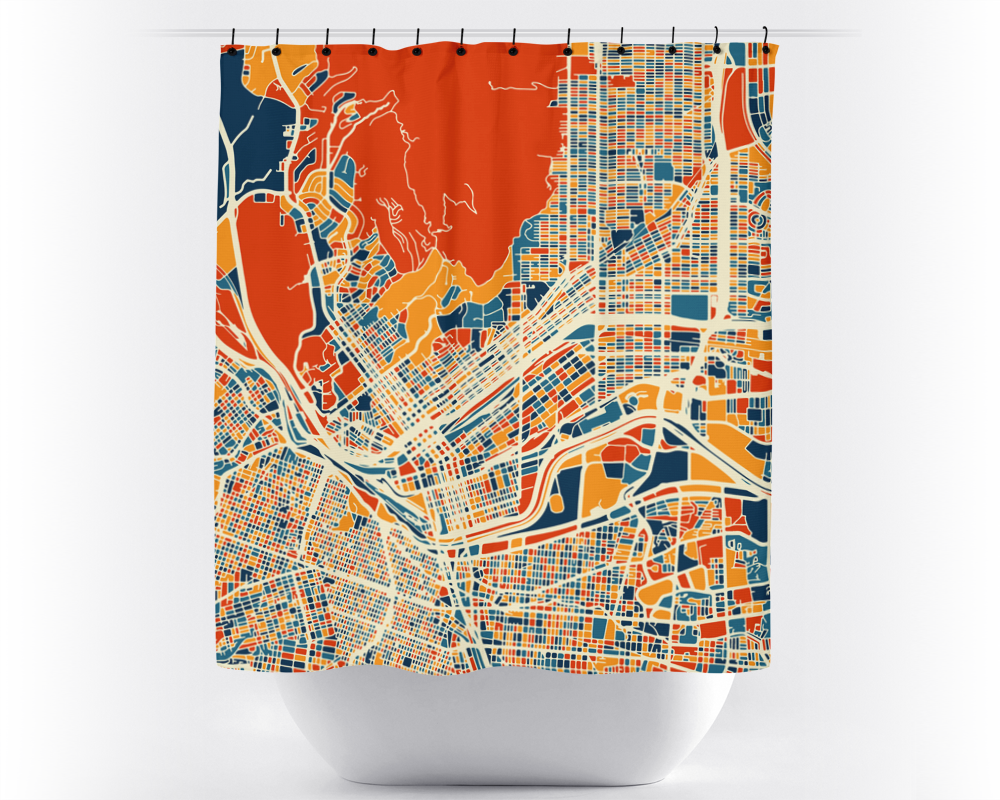 El Paso Map Shower Curtain - usa Shower Curtain - Chroma Series