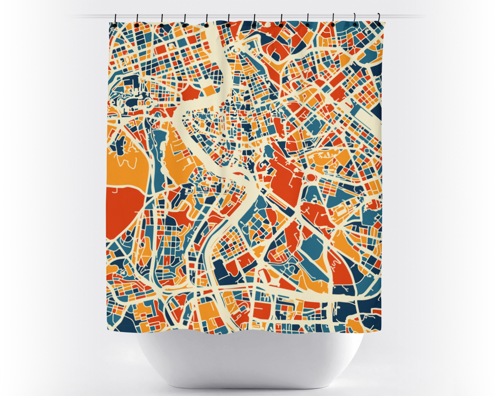 Rome Map Shower Curtain - italy Shower Curtain - Chroma Series