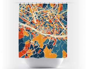 Florence Map Shower Curtain - italy Shower Curtain - Chroma Series