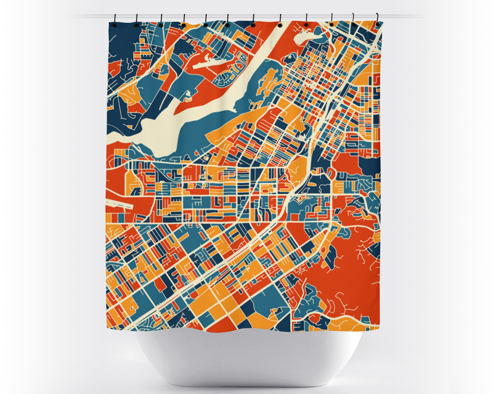 Riverside Map Shower Curtain - usa Shower Curtain - Chroma Series