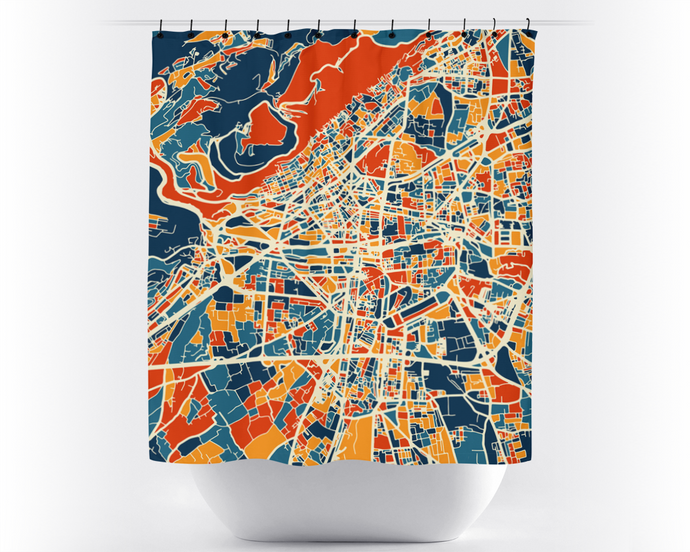 Damascus Map Shower Curtain - syria Shower Curtain - Chroma Series