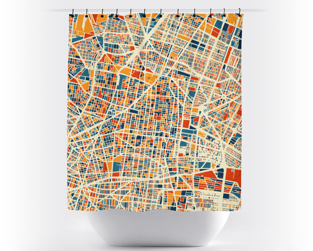 Mexico City Map Shower Curtain - mexico Shower Curtain - Chroma Series