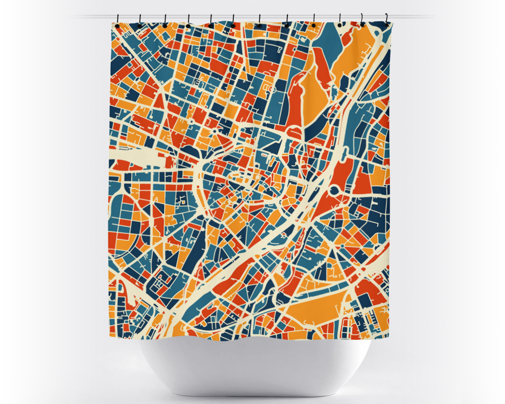 Munich Map Shower Curtain - germany Shower Curtain - Chroma Series