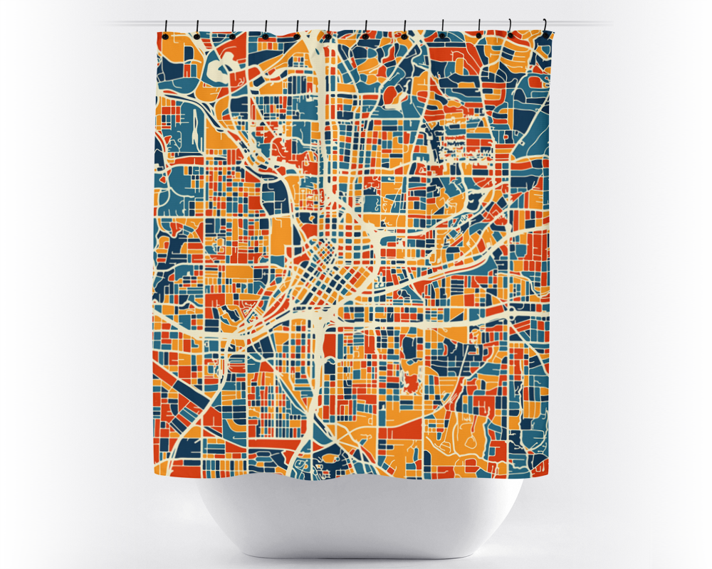 Atlanta Map Shower Curtain - usa Shower Curtain - Chroma Series