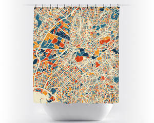 Athens Map Shower Curtain - greece Shower Curtain - Chroma Series