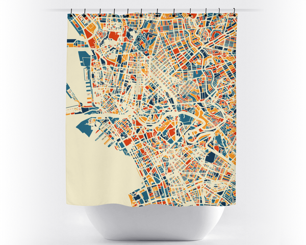 Manila Map Shower Curtain - philippines Shower Curtain - Chroma Series