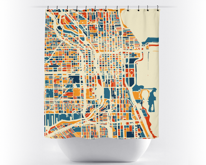 Chicago Map Shower Curtain - usa Shower Curtain - Chroma Series
