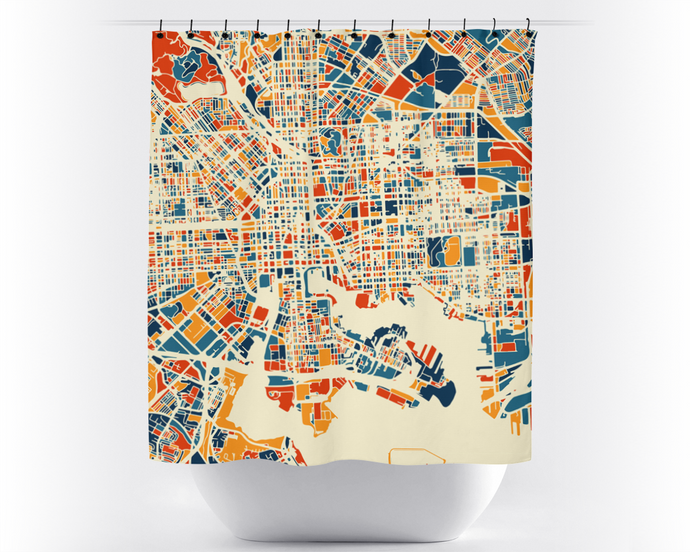 Baltimore Map Shower Curtain - usa Shower Curtain - Chroma Series
