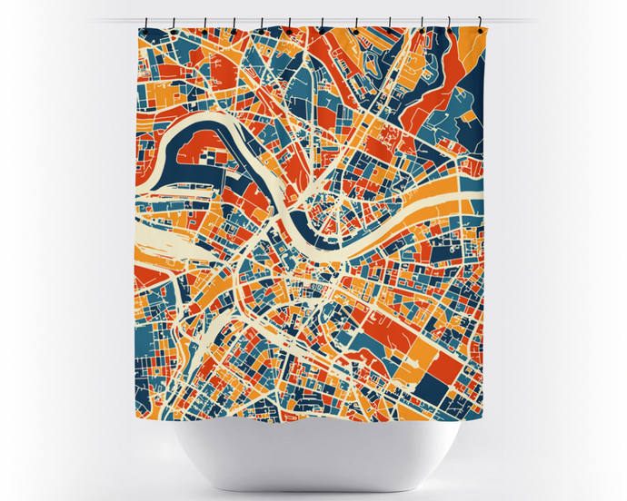 Dresden Map Shower Curtain - germany Shower Curtain - Chroma Series