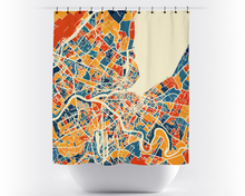 Geneva Map Shower Curtain - switzerland Shower Curtain - Chroma Series