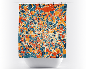 Montpellier Map Shower Curtain - france Shower Curtain - Chroma Series