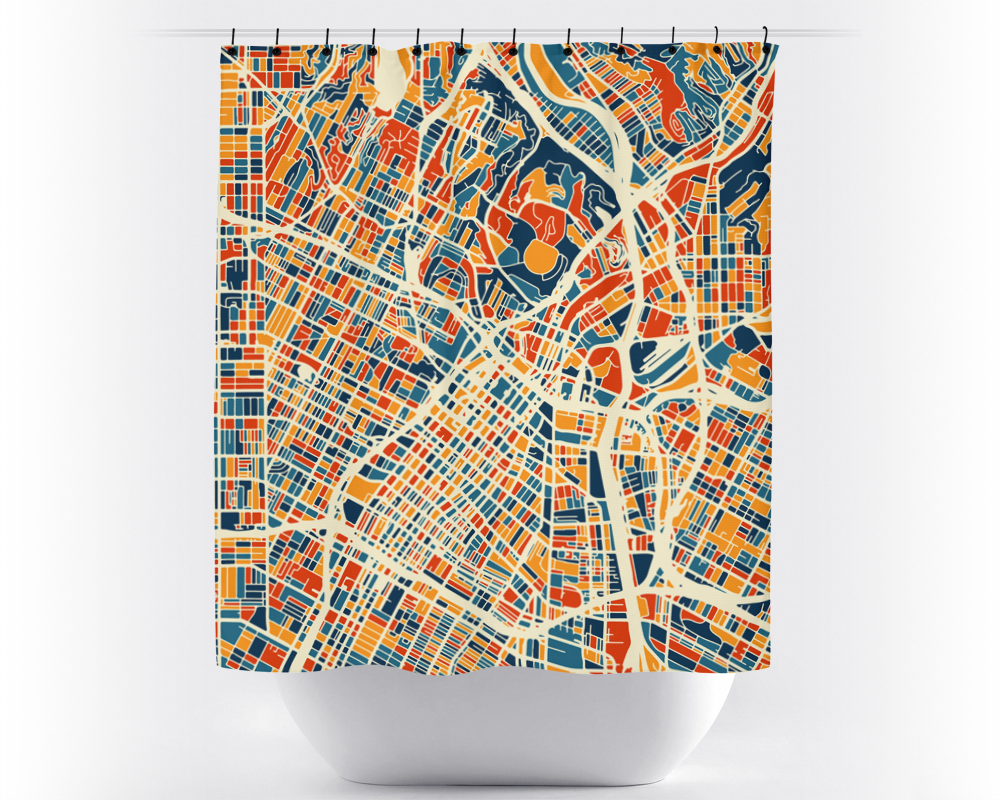 Los Angeles Map Shower Curtain - usa Shower Curtain - Chroma Series