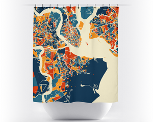 Charleston Map Shower Curtain Usa Shower Curtain Chroma Series
