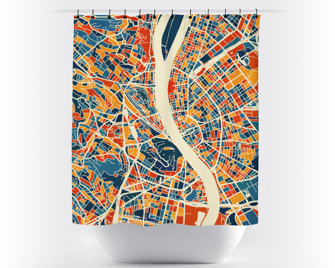 Budapest Map Shower Curtain - hungary Shower Curtain - Chroma Series