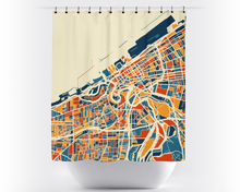 Cleveland Map Shower Curtain - usa Shower Curtain - Chroma Series