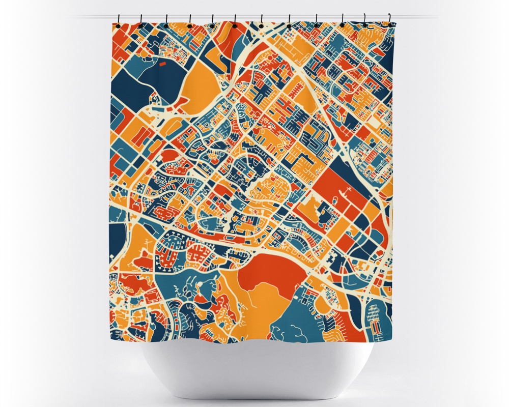 Irvine Map Shower Curtain - usa Shower Curtain - Chroma Series