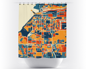 Anchorage Map Shower Curtain - usa Shower Curtain - Chroma Series