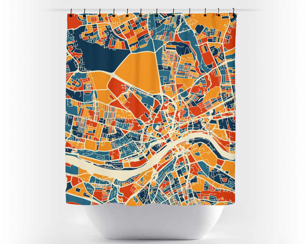 Newcastle Map Shower Curtain - uk Shower Curtain - Chroma Series