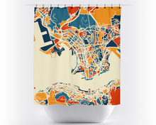 Hong Kong Map Shower Curtain - hong kong Shower Curtain - Chroma Series