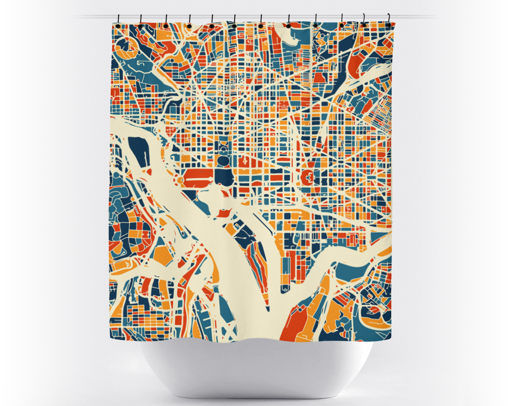 Washington DC Map Shower Curtain - usa Shower Curtain - Chroma Series