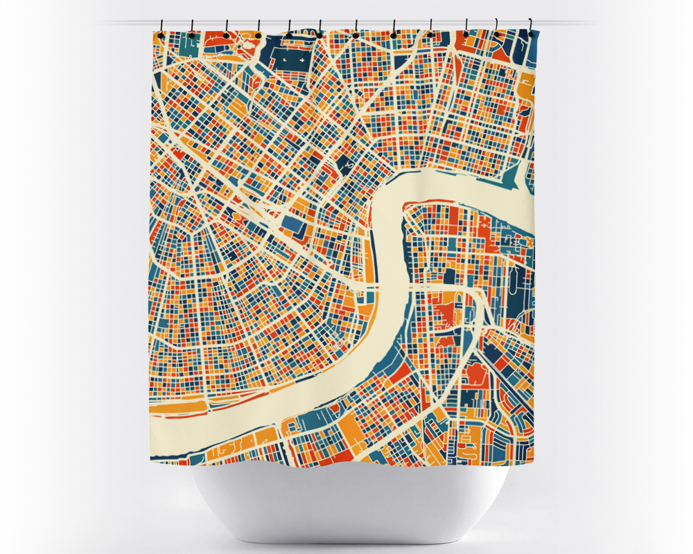 New Orleans Map Shower Curtain - usa Shower Curtain - Chroma Series