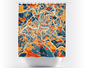 Bern Map Shower Curtain - switzerland Shower Curtain - Chroma Series