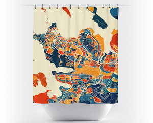 Reykjavik Map Shower Curtain - iceland Shower Curtain - Chroma Series