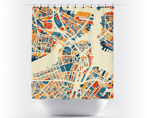 Boston Map Shower Curtain - usa Shower Curtain - Chroma Series
