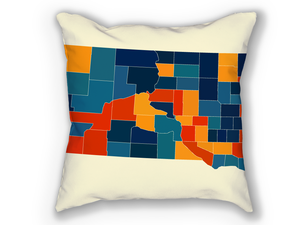 South Dakota Map Pillow - SD Map Pillow 18x18