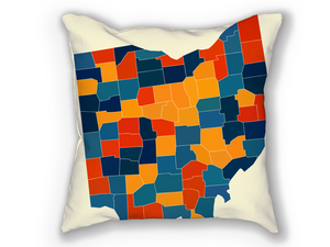 Ohio Map Pillow - OH Map Pillow 18x18