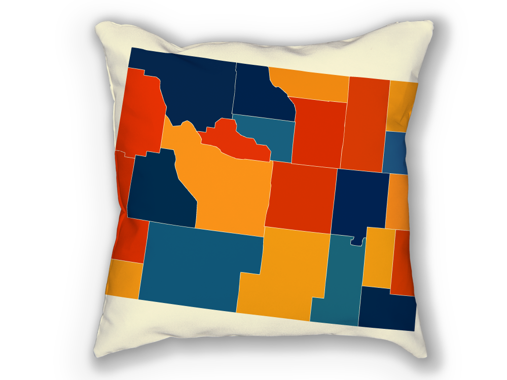 Wyoming Map Pillow - WY Map Pillow 18x18