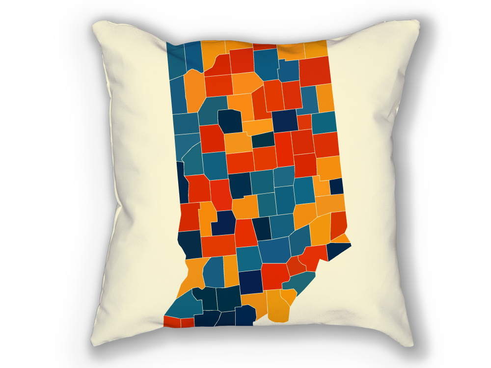 Indiana Map Pillow - IN Map Pillow 18x18