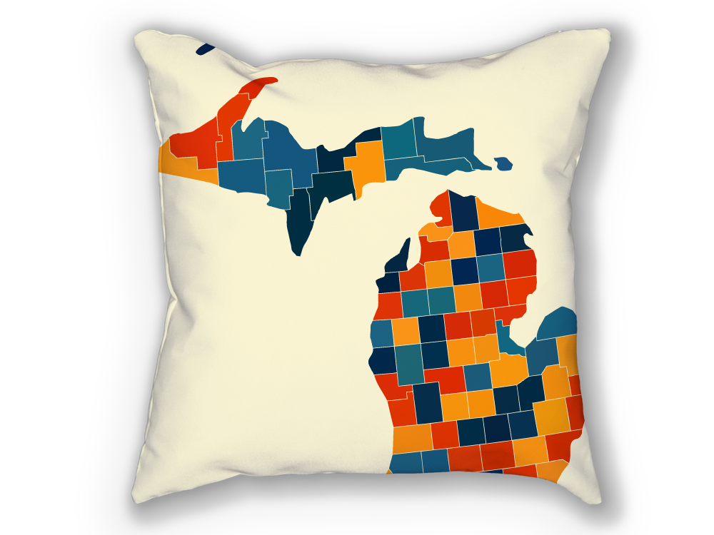 Michigan Map Pillow - MI Map Pillow 18x18