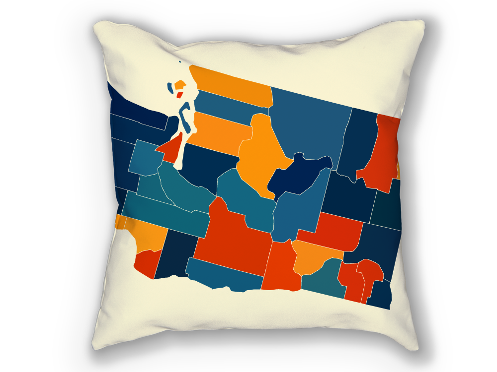 Washington Map Pillow - WA Map Pillow 18x18