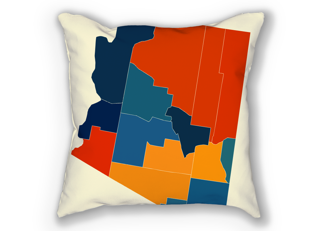 Arizona Map Pillow - AZ Map Pillow 18x18