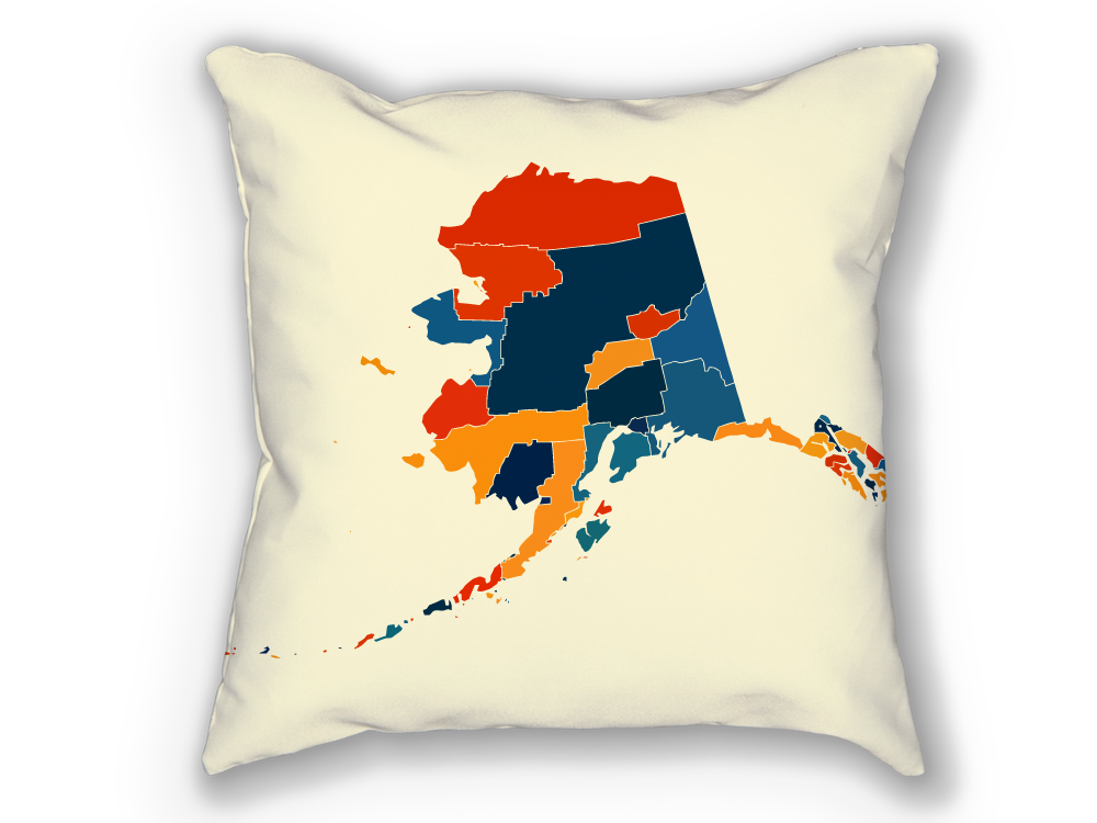 Alaska Map Pillow - AK Map Pillow 18x18