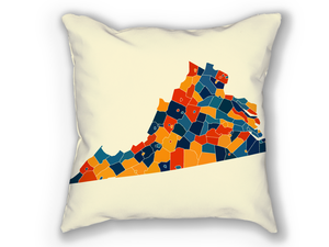 Virginia Map Pillow - VA Map Pillow 18x18