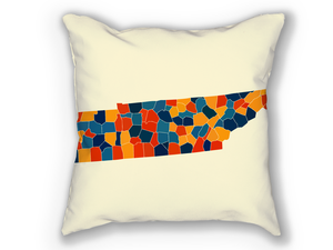 Tennessee Map Pillow - TN Map Pillow 18x18
