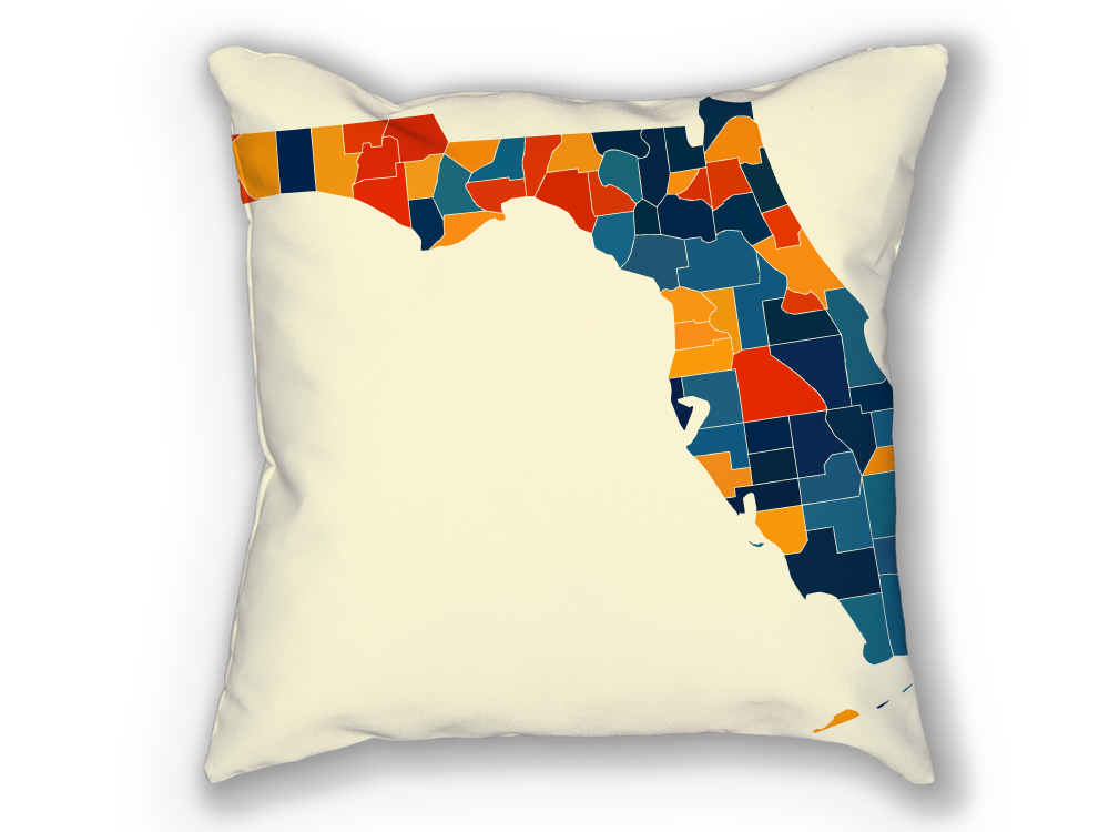 Florida Map Pillow - FL Map Pillow 18x18