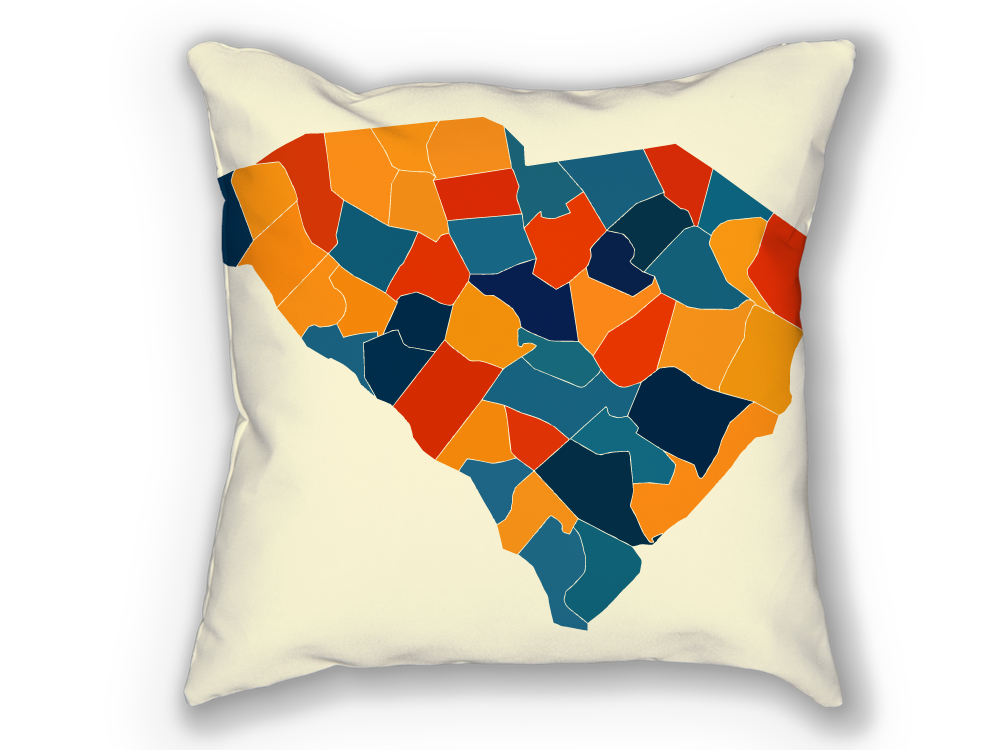 South Carolina Map Pillow - SC Map Pillow 18x18