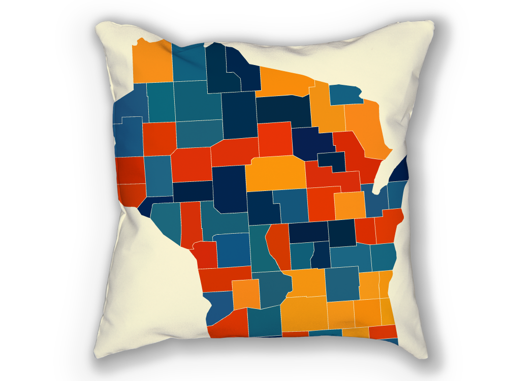 Wisconsin Map Pillow - WI Map Pillow 18x18