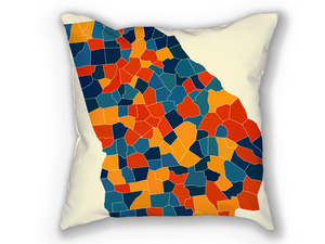 Georgia Map Pillow - GA Map Pillow 18x18