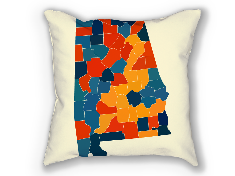 Alabama Map Pillow - AL Map Pillow 18x18