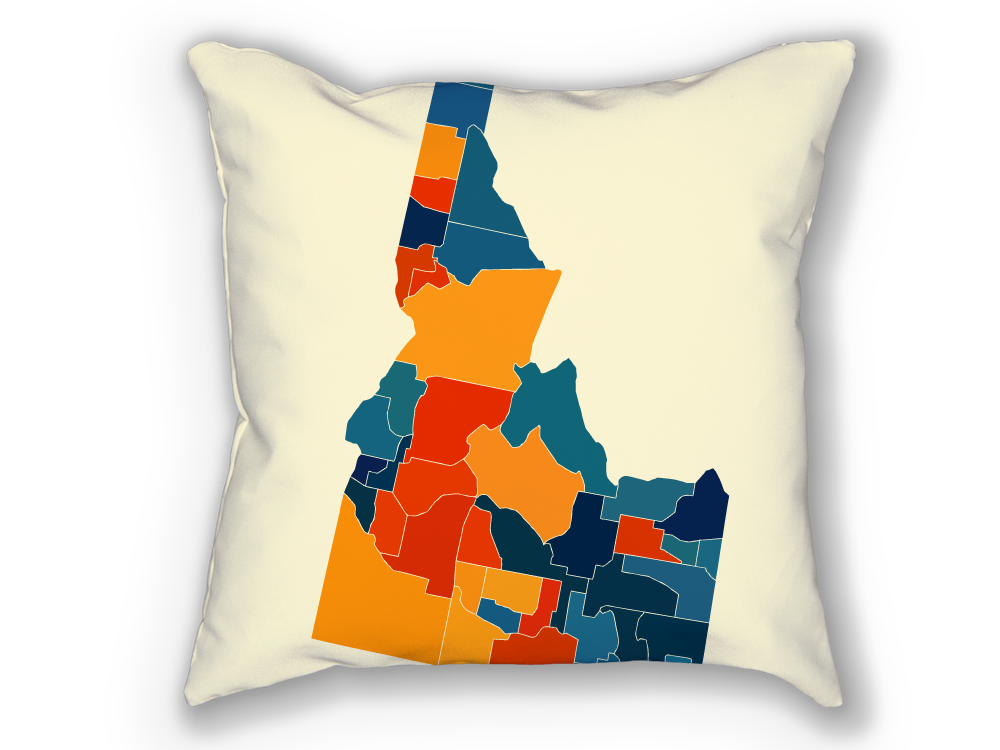 Idaho Map Pillow - ID Map Pillow 18x18